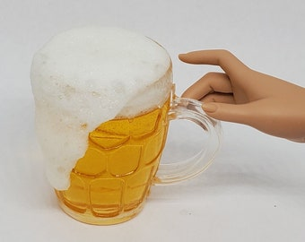 MSD Miniature Beer with Foam in Mug, 1:4 Scale Ball Jointed Doll, Beer stein, Mug of beer, Mug of Ale, Drink prop, Minifee Accessory