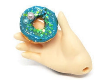 MSD Miniature Blue Mermaid Donut, 1:4 Scale Ball Jointed Doll Junk Play Food