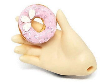 MSD Miniature White Sakura Donut, 1:4 Scale Ball Jointed Doll Junk Play Food