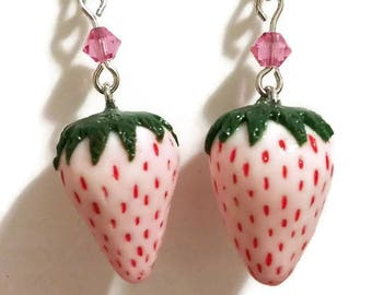 Pineberry, White Strawberry Earrings, Botanical Jewelry, Nature Inspired, Botanical Earrings, Gift for Granny, Nature Lover gift
