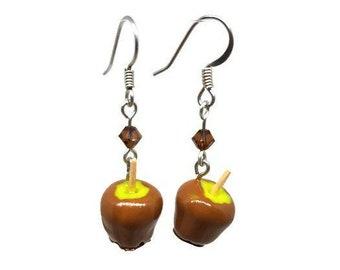 Caramel Apple Earrings, Halloween Jewelry, Green Apple Earrings, Fruit Earrings, Trick or Treat