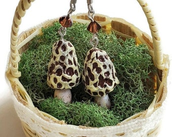 Miniature Morel Mushroom Earrings
