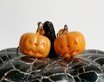 Pastel Orange Pumpkin Earrings