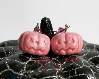 Pastel Pink Pumpkin Earrings
