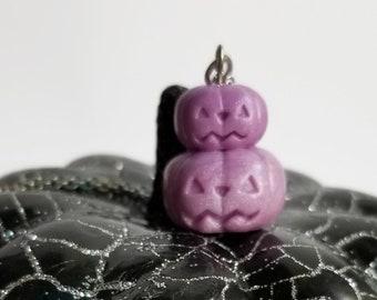 Purple Pastel Pumpkin Stack Charm Necklace