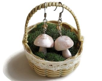 Miniature Cremini Button mushroom earrings