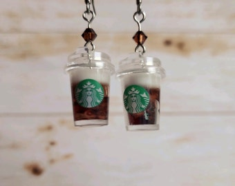 Miniature cold brew coffee earrings, barista gift, foodie gift