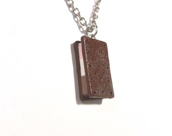 Neapolitan Ice Cream Necklace,  Ice Cream Sandwich, Ice Cream  Jewelry