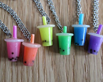 Bubble Tea Miniature Food Necklace - Boba Tea - Milk Tea - Miniature Food Jewelry