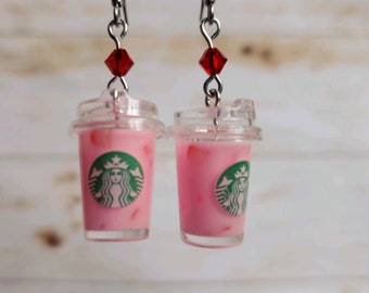 Miniature Pink Drink Tea Earrings Gift for Foodie
