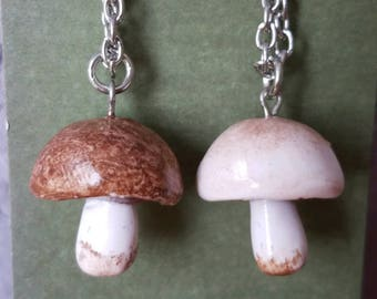 Mushroom Necklace, Cremini Mushroom, Button Mushroom, Mori Girl, Hostess Gift, Foraging Gift, Forest Jewelry, Food jewelry, Cook Gift