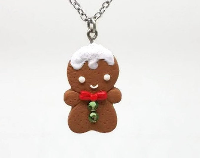 Featured listing image: Gingerbread Cookie Necklace, Christmas necklace, cookie charm, gingerbread man, Christmas tradition, food jewelry