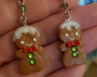 Gingerbread boy earrings