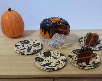 1:12 Miniature Dollhouse Halloween Paper Plates - Spooky Motif