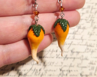 Lunar Radish Earrings, Magic Plums