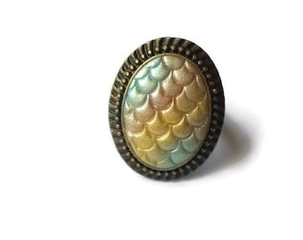 Pastel Dragon Scale Statement Ring