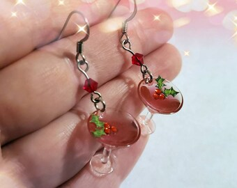 Miniature Christmas Martini Earrings, Cocktail Jewelry, Food Earrings, Holly and Berries