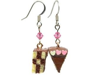 Miniature Chocolate Cake Charm Earrings
