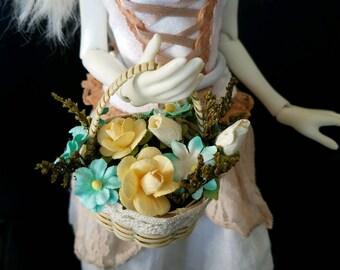 Seaside Mist Basket of flowers for MSD, Gene, Tonner, SD BJD, Pullip, Blythe