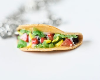 Miniature food jewelry taco charm necklace gift for foodie