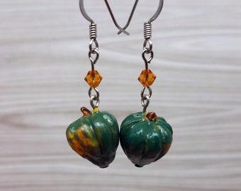 Acorn Squash Earrings, Green and Orange Jewelry, Fruit Earrings, Botanical Jewelry