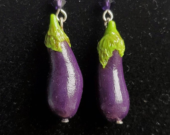 Featured listing image: Aubergine Eggplant Earrings - Gakupo Kamui Vocaloid Cosplay - Hypoallergenic Earrings