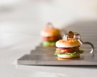 Hamburger Earrings Miniature Food Charm