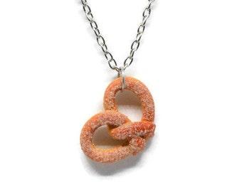 Food Jewelry Cinnamon Sugar Pretzel Necklace
