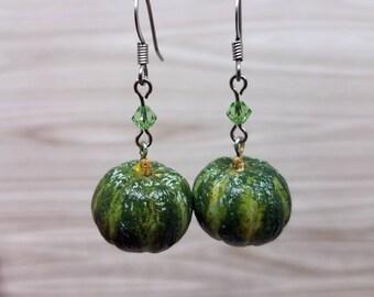 Kabocha Squash Earrings, Fruit Earrings, Botanical Jewelry - Food Earrings