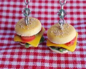 Cheeseburger Earrings Miniature Food Charm