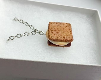 Miniature Smores Necklace - Camping Scouting Tiny Food Jewelry