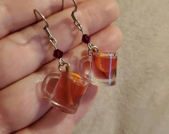 Miniature Mulled Wine Spiced Cider Glogg earrings for foodies and sensitive ears