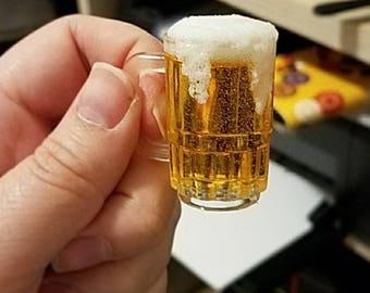 MSD Miniature Beer with Foam in Mug, 1:4 Scale Ball Jointed Doll, Beer stein, Mug of beer, Mug of Ale, Mug of Mead, Minifee Accessory