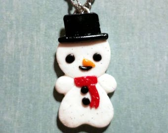 Frosty the Snowman, Christmas Necklace, Snowman Jewelry, Polymer Clay, Red Scarf, Top Hat