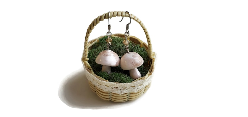 Miniature Cremini Button mushroom earrings image 0