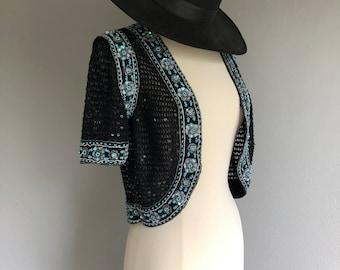 90s Sequin Crochet Shrug Bolero Berek2 by Takako Salon (xs-s)