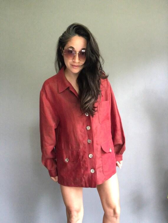 Vintage YSL Sienna Red Linen Boxy Blouse 90s (m-l)