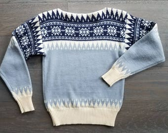 WOOL 70s SNOWFLAKE Boatneck Sweater (s-m)