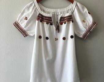 Boho 70s Linen Cotton Blend Blouse (small)