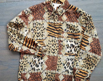 Leopard Cat ANIMAL 90s Print SILK Button Up BROCADE Blouse  (s-m)