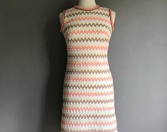60s Chevron Print Shift dress S/M