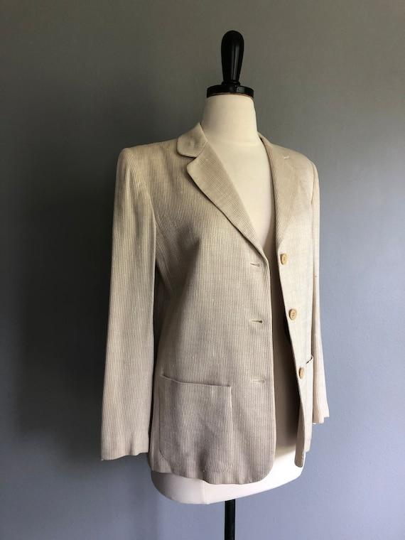 Vintage HALSTON SPORTSWEAR Cream Blazer Jacket