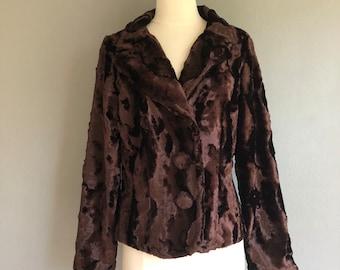 90s Faux Brown Crushed Velvet Coat (m)