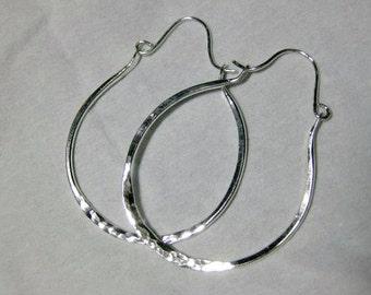 Sterling Silver hammered Hoop earrings, H28, Minimalist, Silver hoops, Sterling Silver Metalwork