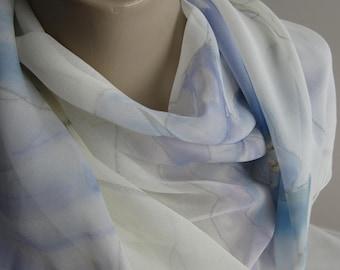 "Bride, wedding, Bridal Shawl. Veil, wrap. Silk Chiffon- hand painted original design - 92"" x 22"" -  Blue Poppies.  Veil. Bridal Wrap"