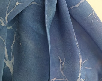 Blue Violet purple hand painted silk scarf with delicate white branches.  Wearable Art. One of a Kind. Gift for Someone Special