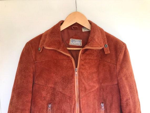 Vintage 1970s Leather Bomber Jacket: Rusty orange