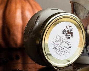 Caramel Pumpkin Body Butter - caramel pumpkin spice latte fall scented whipped shea moisturizer. Vegan zero waste self care spa gift.