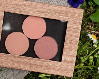 Blush Gift Set - 3 All Natural Shades of Pink Pressed Mineral Blush in a Magnetic Makeup Palette. Plastic Free, Zero Waste, Vegan Cosmetics.