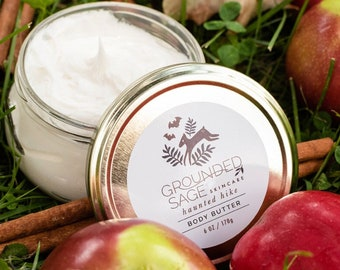 Apple Cider Body Butter. Autumn hand cream with our haunted hike blend of fall leaves, cinnamon, apples, and warm spices. Vegan skincare